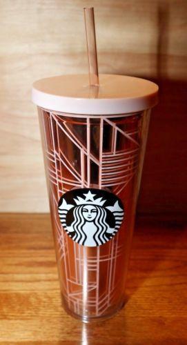 d9257415a27 Starbucks-Rose-Gold-Pink-Linework-Geo-Cold-Cup-Venti-24-oz-2017-Tumbler