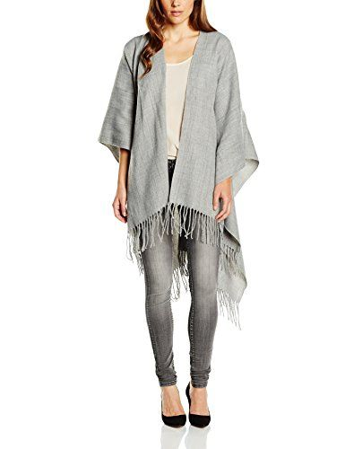 PIECES Damen Poncho Noos Pcraelyn Noos Gr. One size Grau