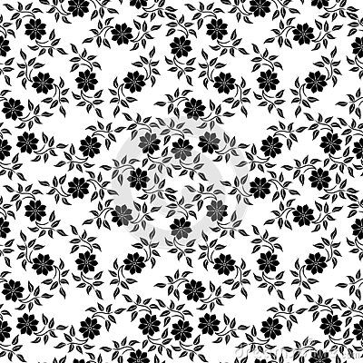 Simple Seamless Floral Pattern White Flowers On A Black Background Floral Pattern Seamless Patterns Simple Flowers