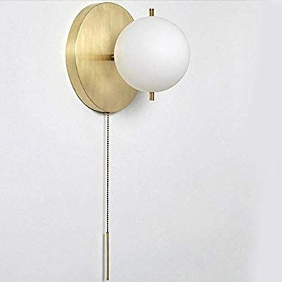 Ij Injuicy Wall Sconce With White Globe Glass In Satin Brass Wall Lamp With Pull Switch For Bathroom Living Room H In 2020 Sconces Glass Wall Lights Vanity Lighting