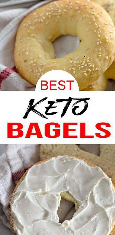 Keto Bagels! EASY low carb keto with these yummy 5 ingredient bagels. BEST keto recipe for quick breakfast or snack. Low carb fathead dough bagels with a few ingredients. Great keto snack on the go. No need to buy store bought low carb #keto snacks or fast food breakfast when you can make homemade snacks & homemade healthy #breakfast. Almond flour low carb bagels. Toppings: cream cheese, jelly, jam, cinnamon sugar & more. Click for this favorite keto food  #KetoDietWhatNotToEat