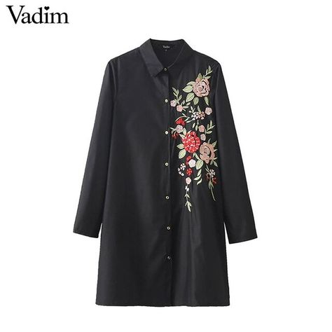 Women sweet floral embroidery shirt dress long sleeve turn down collar loose blouse ladies fashion streetwear tops blusas