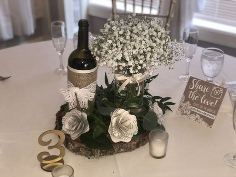 #weddingdecor #weddingcenterpiece #centerpiece #diycenterpiece #rusticwedding #rusticdecor #babysbreath #woodslice #winebottle #winebottlecenterpiece #paperflowers #masonjar #ivory #greenery #centerpieceideas #DIYinsportation #diywedding #burlap #fallwedding #summerwedding #woodyswedding #rusticweddingideas #diyweddingideas #diyideas #rusticvenue #weddingvenue #receptionvenue #guesttables #weddingthemeideas #gold #tablenumber #ronjaworskiweddings #blueheronweddings #njbride #njweddings