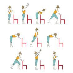 Sun Salutation Variation Standing In Front Of Chair In 2020 Chair Yoga Chair Yoga Sequence Chair Pose Yoga