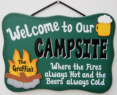 PERSONALIZED Wood Outdoor Camping Sign - Fires always hot, beers always cold on Etsy, $20.95