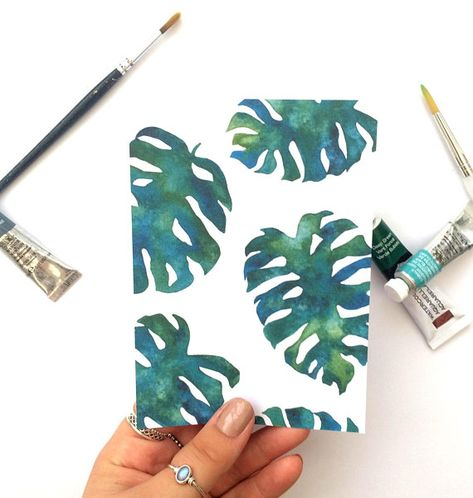 Tropical leaf print // Monstera print // Jungle print // Botanical art // small gift //Watercolour print // Gift for plant lover//Plant lady