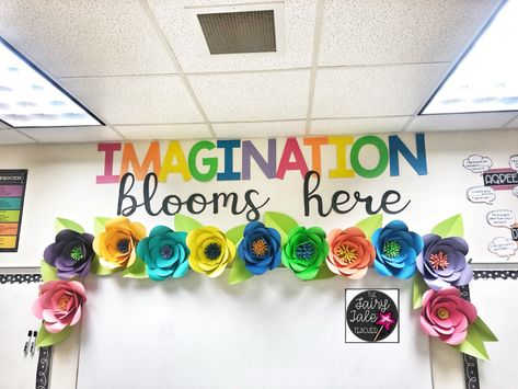 Classroom Setup - Amazing Classroom Decor - Flower Bulletin Board display Pick a theme or color scheme that you will love all year! Themed Classroom Decor Picking a theme that not[. Halloween Classroom Decorations, Kindergarten Classroom Decor, Classroom Decor Themes, In Kindergarten, Primary Classroom Displays, Preschool Decorations, Classroom Display Boards, Elementary Classroom Themes, Elementary Bulletin Boards