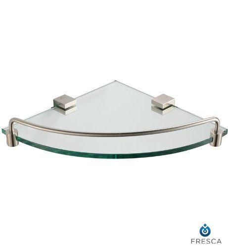 Fresca Bath FAC0448BN Ottimo Corner Glass Shelf, Brushed Nickel