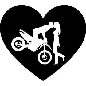 Vintage Motorrad Enduro Cross Ku Ein Herz mit einen Enduro P rchen beim K ssen wobei der Motorradfahrer noch auf seiner Enduro Cross Maschinen sitzt