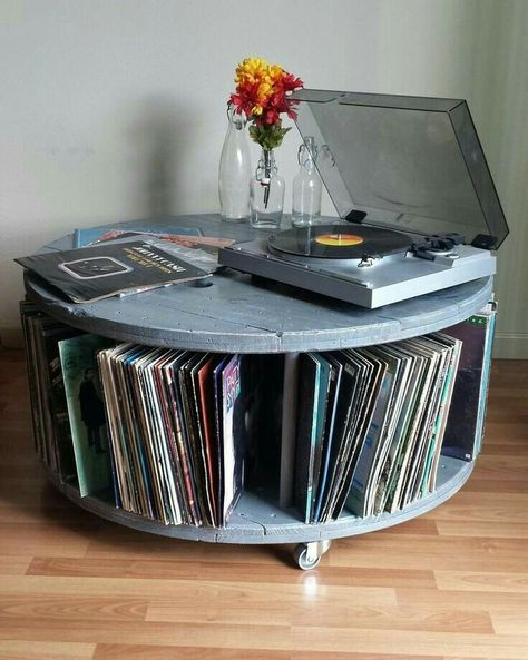 Repurposed Cable Reel Spool Media Center Turntable Stand with Vinyl Record Storage in Weathered Gray Handmade Furniture, Diy Furniture, Gothic Furniture, Kitchen Furniture, Vinyl Record Storage, Lp Storage, Vinyl Records Decor, Vinyl Record Projects, Record Decor