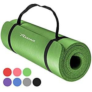 Reehut 1 2 Inch Extra Thick High Density Nbr Exercise Yoga Mat For Pilates Fitness Workout W Carrying Str Workout Accessories Mat Exercises At Home Workouts