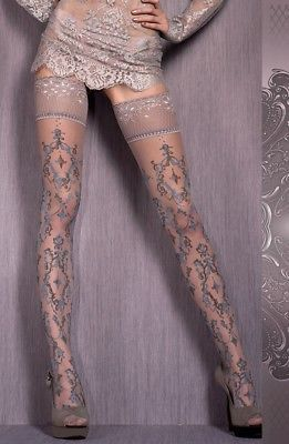 Ladies//Womens Dot Patterned hold up stockings with double silicon top
