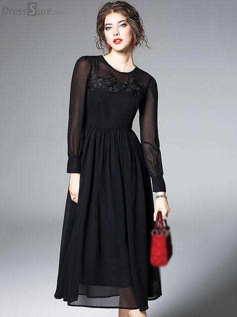 03cf2e3f5a4b3 Buy Vintage O-Neck Long Sleeve Pure Color Maxi Dress with High Quality and  Lovely Service at DressSure.com