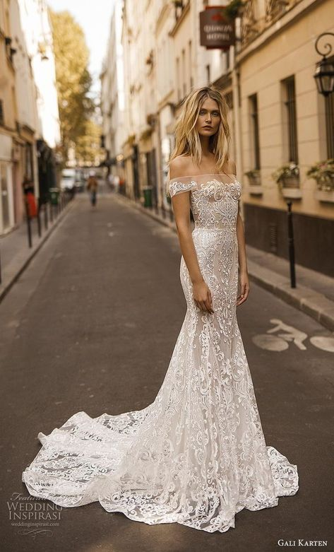 "Gali Karten 2019 Wedding Dresses — ""Paris"" Bridal Collection gali karten 2019 bridal off the shoulder neckline full embellishment elegant glamorous fit and flare trumpet wedding dress medium train mv -- Gali Karten 2019 Wedding Dresses Fit And Flare Wedding Dress, Classic Wedding Dress, Perfect Wedding Dress, Beautiful Wedding Dress, Off Shoulder Wedding Dress, Stunning Wedding Dresses, Western Wedding Dresses, Dream Wedding Dresses, Bridal Dresses"