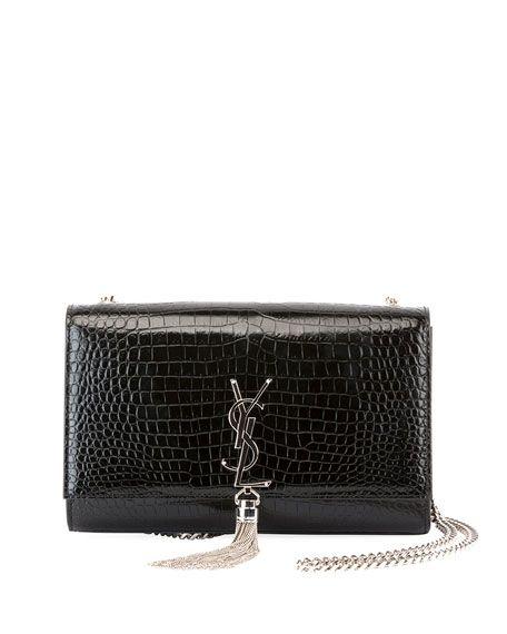 Kate Monogram Medium Crocodile-Embossed Tassel Shoulder Bag by Saint Laurent  at Neiman Marcus abcd215980ae2