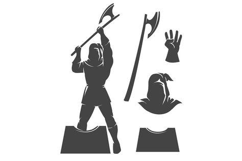 Medieval Executioner Emblem (1296038)   Icons   Design Bundles