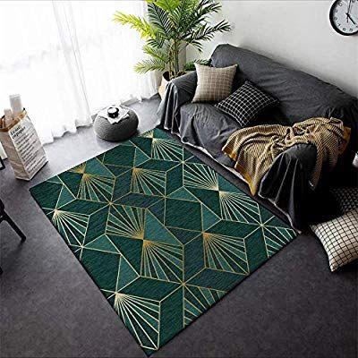 Pyqk Tapis Chambre Salon Tapis Art Moderne Simple De Chevet Lumiere Metal Vent Vent Vert Fonce Or Geometrique T In 2020 Geometric Carpet Living Room Carpet Bedroom Rug