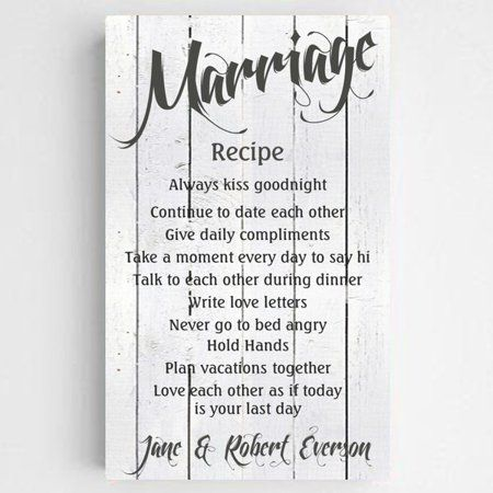 Personalized Marriage Recipe Canvas Sign, White