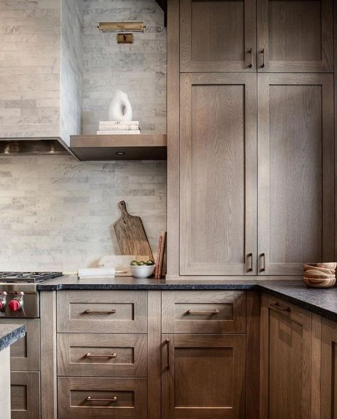 CH: white oak cabinets with Farrow ball navy island | Black ...