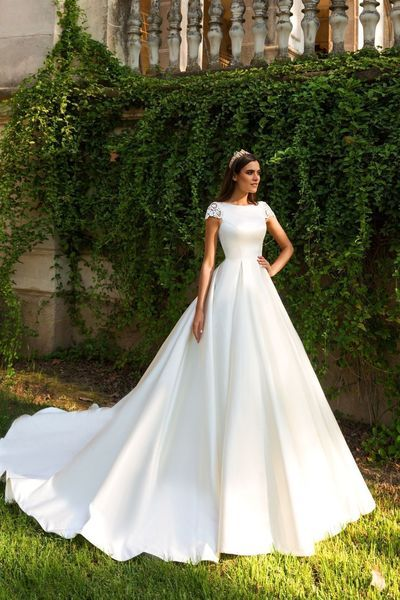Glamorous Satin Lace White Wedding Dress A Line Cap Sleeves Bridal Dress With Long Train Trendy Wedding Dresses Bridal Dresses Wedding Dresses