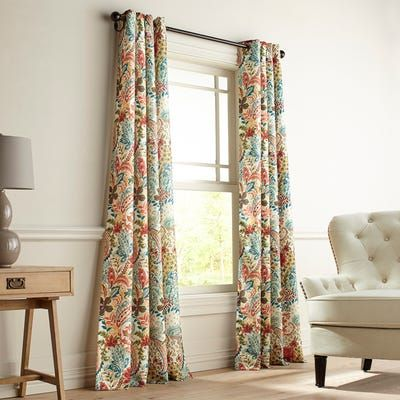 Fully Lined With Easy To Hang Grommet Construction Our Clara Curtain Boasts A Colorful Dining Room Curtains Colorful Curtains Living Room Curtains Living Room
