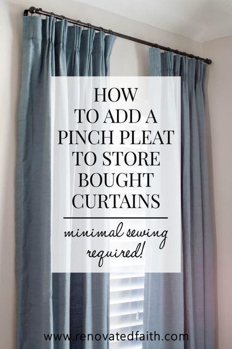 Diy Pinch Pleat Curtains Add A Pinch Pleat To Store Bought Curtains In 2020 Pinch Pleat Curtains Diy Pinch Pleat Curtains Pleated Curtains