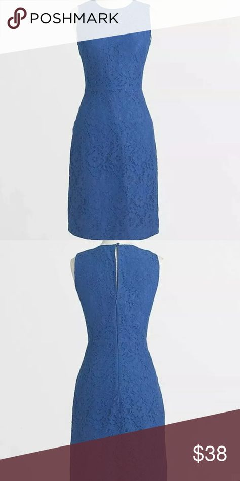 """J.Crew Floral Lace Shift Dress F2467 Royal Blue J.Crew Floral Lace Shift Dress Size 00 Royal Blue F2467   Royal Blue  Product Details Poly. Falls above knee. Back zip. Lined. Machine wash.  Import. Item F2467.  Bust 32"""" Waist 26"""" Length 34""""   No defects. Smoke + Pet free home.  Great Gentle pre-loved Condition. J. Crew Dresses"""