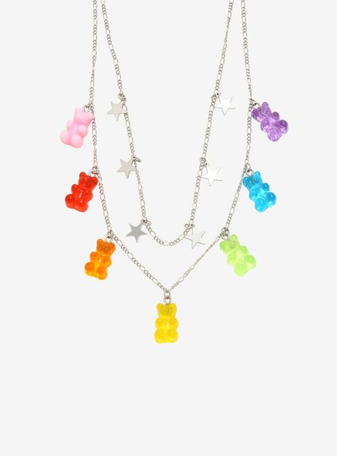 A necklace as sweet as you are! This layered silver tone necklace features stars and colorful gummy bears. Disclaimer: do NOT eat the gummy bears! Kawaii Jewelry, Cute Jewelry, Body Jewelry, Jewelry Necklaces, Jewelery, Silver Jewelry, Jewelry Accessories, Cool Necklaces, Monies Jewelry