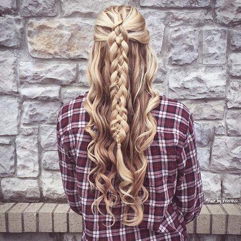 @Hair_by_Pelerossi Because we wanted to see it with curls   Hair profile:  Length:to the waist Density: medium Texture: slight waves Hair prep: Redken 'hot sets' for curls  #hairbypelerossi #fives grandstand #fivestranddutchbraid #5strandbraid #halfuphalfdown #halfupdo #updo #bridalinspiration #weddinginspiration #bridalhair #weddinghair #formalhairstyle #modernsalon #samvilla #cghphotofeature #yourbraids #sexiesthair