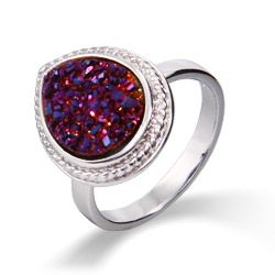 Add a splash of unique color with this Sterling Silver Cabled Pearcut Raspberry Drusy Ring.