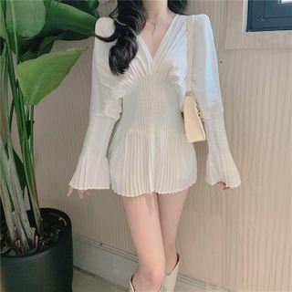 Long-Sleeve Ruched Mini Dress