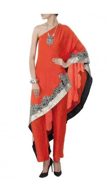 Orange Silk Trouser Suit With Dupatta Dmv15007 Indian Fashion Designers Fashion Indian Fashion