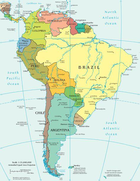 Mapa Da America Do Sul 2020 America Do Sul Destinos Na