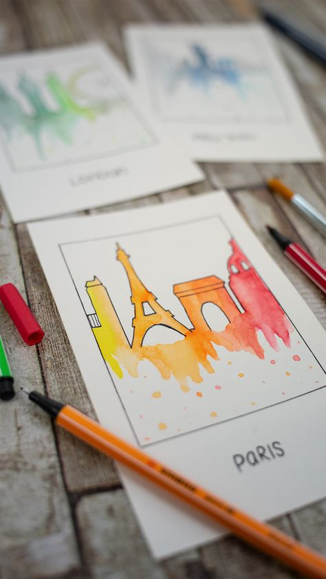 We have designed the skylines of some of our favorite destinations as watercolored Polaroids. You will need the STABILO point 88 or the STABILO SENSOR in black for the outlines, the STABILO pencil 160 for sketching, the STABILO Pen 68 pens for watercolor painting, a brush, a piece of foil, some water and watercolor paper. In our Youtube video we show you how it works. #stabilo #stabilopen68 #pen68 #aquarell #city #inspiration #art #creativity #create #watercolor #colorful #paris