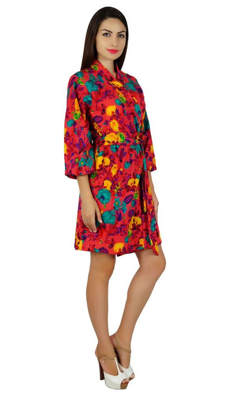 25db6b0293 Bimba Women Red Short Floral Cotton Robe Bride Bridesmaid Getting Ready  Coverup Short Floral Red