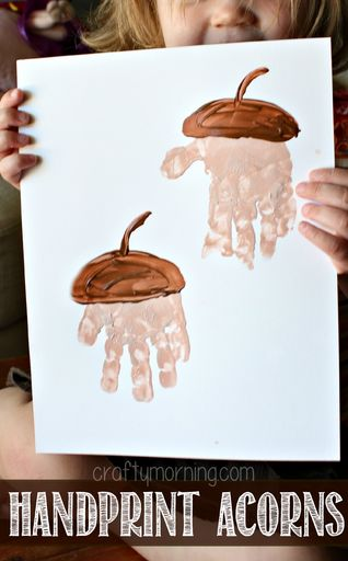 Our Attempt at this Handprint Acorn Craft - She didn't want to put her fingers together lol! #Fun fall craft for kids to make!   CraftyMorning.com