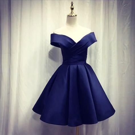 f4043dc5732f Short Satin Off Shoulder Homecoming Dress For Prom – alinanova. midnight  blue homecoming dress,short prom dress,navy blue bridesmaid dress