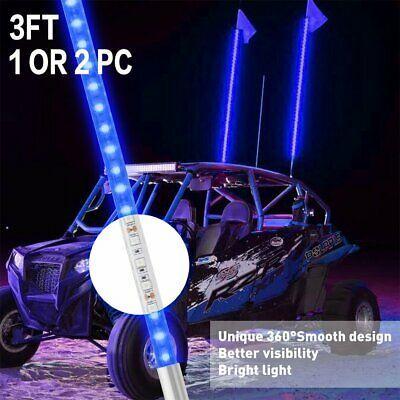 Flag for ATV Polaris RZR 4 Wheeler UTV 2PCS 3ft Lighted Antenna LED Whip Light