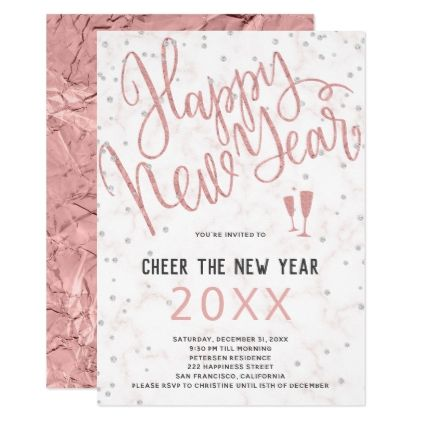 cheer the new year rose gold marble party invitation new years eve happy new year holiday diy party