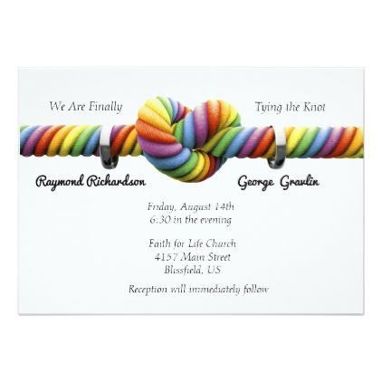 Rainbow Tie The Knot Wedding Invitation Wedding Invitations Cards Custom Invitation Ca Tie The Knot Wedding Funny Wedding Invitations Wedding Invitations Diy