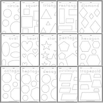 Shapes Trace And Draw Worksheets 3 Sets 15 Shapes Shapes Worksheets Tracing Shapes 2d Shapes