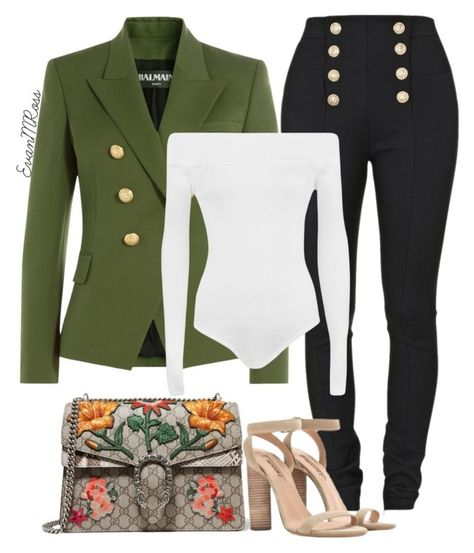 Untitled #886 by irunaftergucci on Polyvore featuring polyvore fashion style Balmain WearAll Gucci clothing