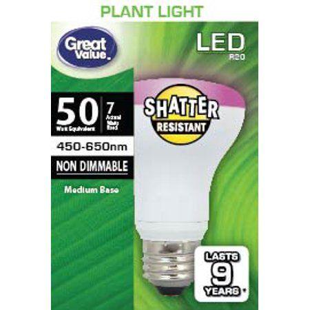 Great Value Led Light Bulb 7 Watts 50w Equivalent R20 Grow Light Lamp E26 Medium Base Non Dimmable Plant 1 Pack Walmart Com Led Plant Lights Plant Lighting Best Led Grow Lights