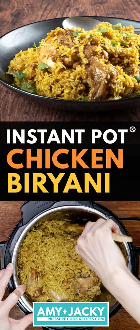 Quick & easy way to cook Instant Pot Chicken Biryani (Pressure Cooker)! Tasty one pot meal - scented fluffy rice & juicy chicken with aromatic rich flavors. Pressure Cooker Chicken, Instant Pot Pressure Cooker, Pressure Cooker Recipes, Pressure Cooking, Indian Chicken Recipes, Indian Food Recipes, Chicken Biryani Recipe Indian, Biryani Chicken, Gourmet