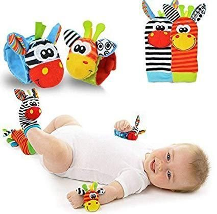 Baby Sock And Wrist Rattle Set Baby Soft Toys Baby Plush Toys Baby Sensory