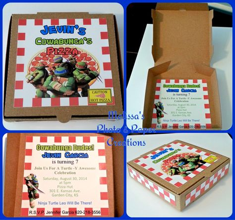 Teenage Mutant Ninja Turtle Pizza Box Invitation Size 3 5 X 3 5 And 1 Of Deep Boy Party Invitations Box Invitations Invitation Sizes