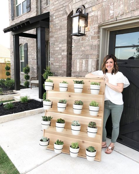 Likes, 872 Comments - holly+brad Backyard Projects, Outdoor Projects, Backyard Patio, Succulent Wall Planter, Diy Planters, Outdoor Wall Planters, Patio Wall Decor, Vertical Planter, Concrete Planters