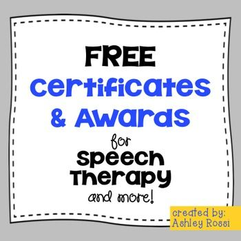Speech Therapy Graduation Certificate SLP nonspecific activities - graduation certificate