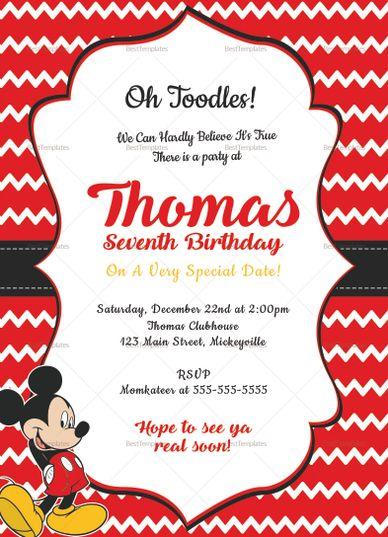 Editable Mickey Mouse Birthday Invitation Card Template Birthday Invitation Card Template Mickey Mouse Invitation Mickey Mouse Birthday Invitations