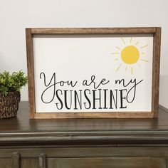 You Are My Sunshine Framed Wood Sign, Colorful Kids Decor, Sweet Kids Room Art, Song Lyrics Sign, Custom Color Gallery Wall Hanging